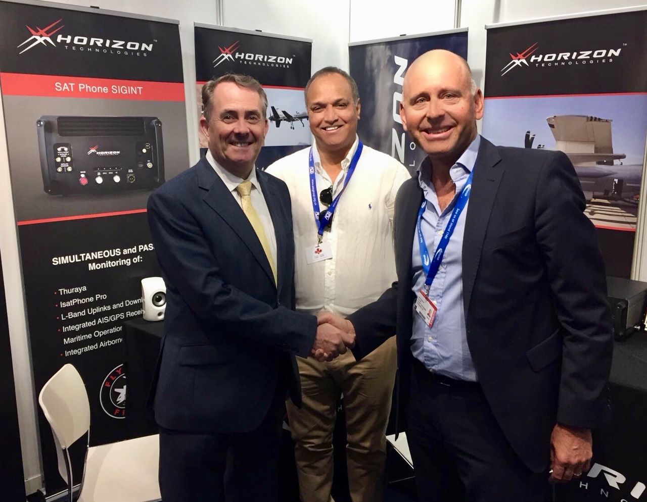 Horizon Technologies hosts The UK Secretary of State for International Trade at FIA18. From left, Rt. Hon. Liam Fox MP, Bash Ahmed, and John Beckner.